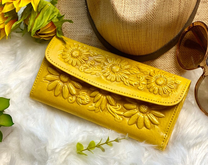 Authentic Leather Sunflowers woman wallet - gift for her - leather wallet women - woman wallet - Gift for women - leather purse