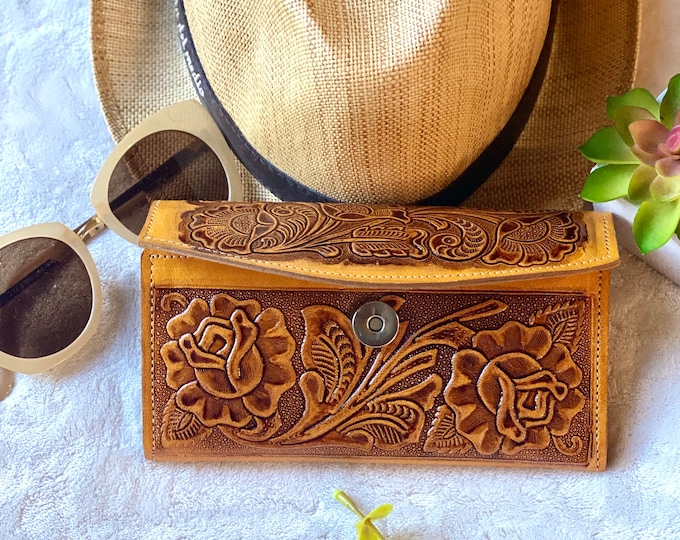 Handcrafted leather wallets for women -yellow woman wallet -gift for her -roses leather wallet -wallet for her -long wallet -leather purse