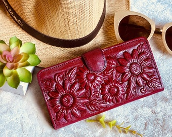 Sunflower purse - Leather Wallet Woman -  Gift for her- woman wallet leather - sunflowers gift- bohemian wallet