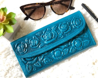 Leather Handmade Wallets for Woman - Embossed Leather - Women Wallet - gifts for her - Snap wallet - teal wallet - gifts for mom