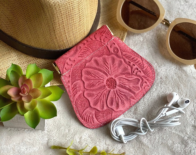 Handmade authentic leather squeeze pouch - flex frame pouch - woman pouch - leather coin purse - AirPods case - gift for her