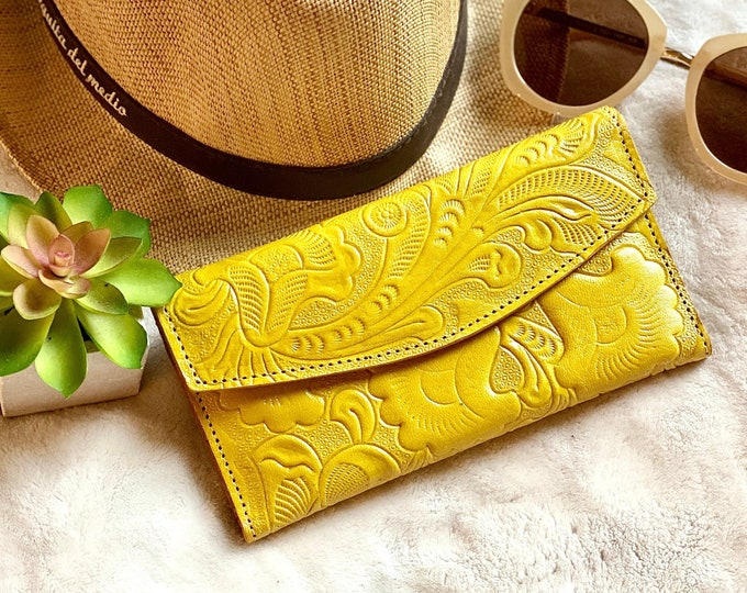Yellow tooled authentic Leather wallets for women - woman wallet - floral wallet- gifts for her - woman purse - gift for mom
