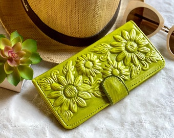 Sunflowers handmade leather wallet - Gift for woman - Sunflowers lovers