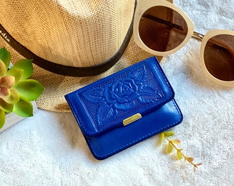 Leather Small Wallet - Handmade leather carved leather wallet - Blue small wallet for women - Gift for her