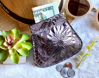 Authentic leather handcrafted tooled woman pouch -coin purse -woman pouch -leather squeeze pouch -gift for her- leather squeeze coin purse