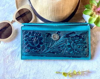 Handcrafted leather wallets for women - teal woman wallet - gift for her -roses leather wallet - wallet for her - long wallet -leather purse
