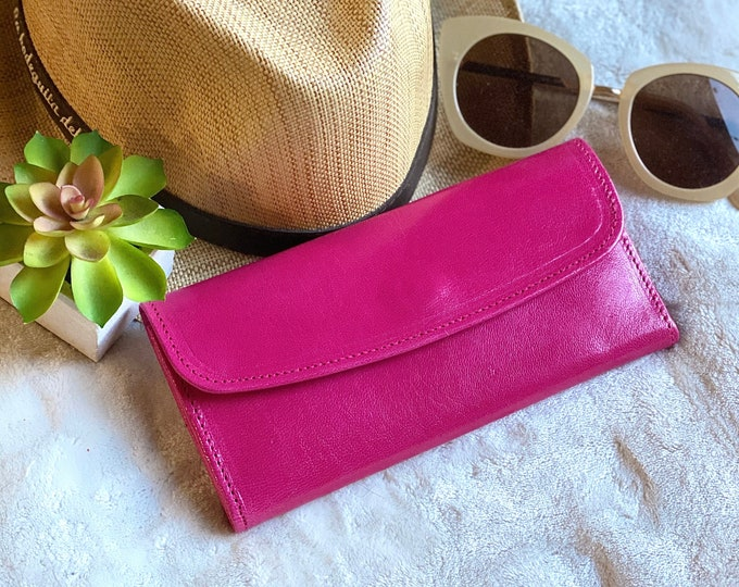 Leather Wallets for Women -Gift for her - Wallets for her - Pink leather wallet - woman purse - credit cards wallet