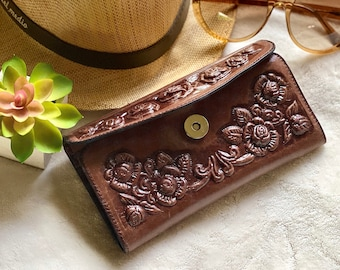 Handmade leather woman wallet - Roses leather wallet - Wallets for women - gifts for her- woman wallet leather