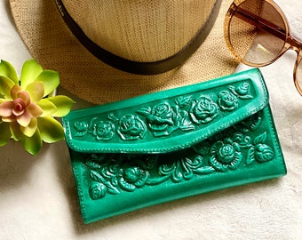 Women's leather wallet - Embossed Leather wallet - Christmas woman gift