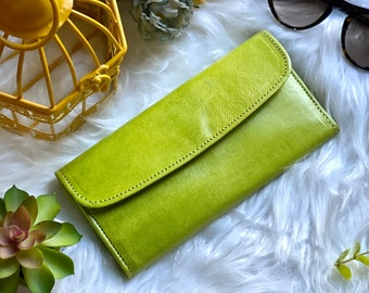 Chartreuse color handcrafted leather wallets for women-Gift for Her- Women's Wallet - Wallets for Woman