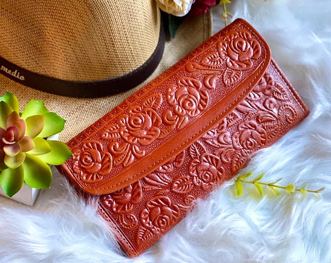 Leather wallets for women -Leather woman wallet -wallet women -gift for her -woman purse -Cognac wallet- Woman purse - Roses Wallets
