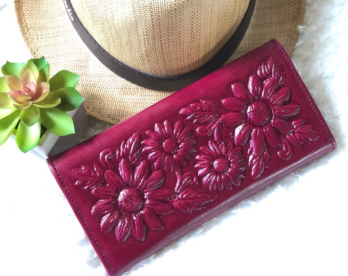 Leather wallets for women- Sunflowers Women Wallet- Credit Card Wallet - Wallet purse - Christmas gifts for mom