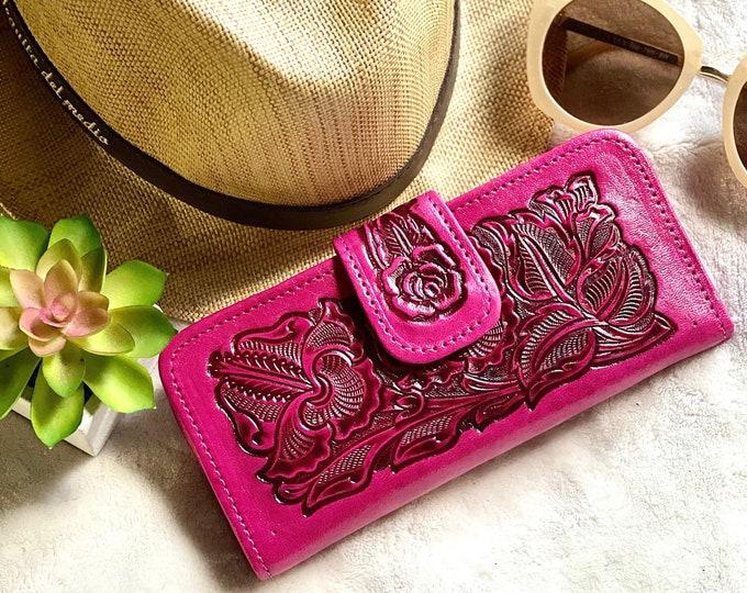 Leather woman wallet - Western wallet woman  - Bohemian wallet - Pink wallet - Gifts for her - wallets for women - pink wallets