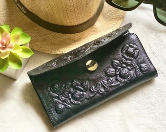 Roses leather wallet for women -Women's leather wallet - Embossed Leather wallet - gift for her