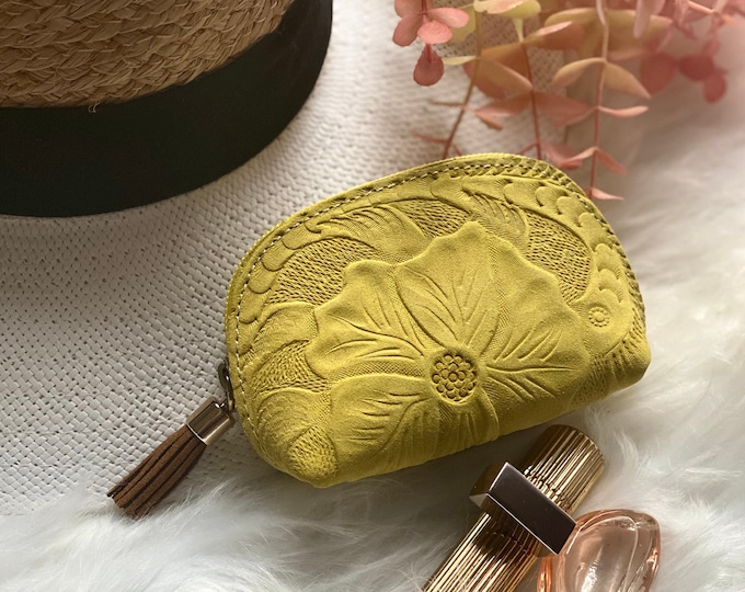 Embossed small leather pouches- woman small leather bags - gifts for her
