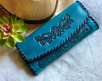 Leather tooled wallet - Leather wallet - Western Leather wallet - Leather wallet women's - Christmas woman gift