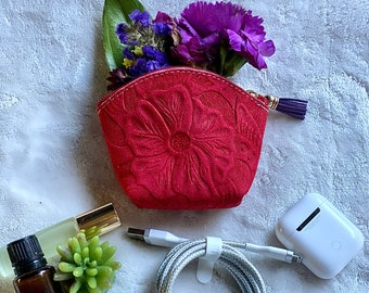 Bohemian pouches - coin purse woman - Hibiscus tooled pouch- gift for her