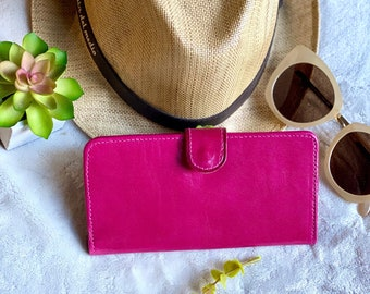 Leather woman wallet - handmade wallet for woman - bicolor wallet - credit card wallet - pink wallet - women's wallet - gift for her -bifold