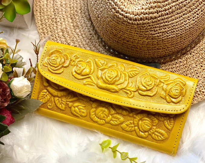Handmade leather Wallet- floral wallet- Gift for her -Gifts for mom - leather wallet women -
