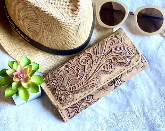 Bohemian leather wallet for women - wallet women - leather purse - credit card wallet - wallets for women - gift for her