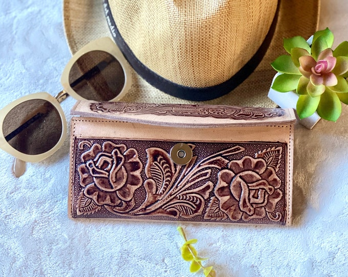 Handcrafted leather wallets for women -brown woman wallet - gift for her -roses leather wallet - wallet for her -long wallet - leather purse
