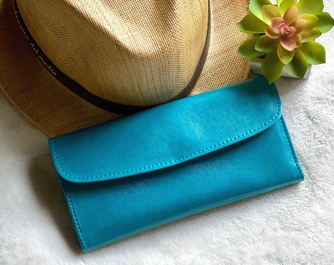 Authentic leather woman wallets- wallets for woman, gift for woman - leather wallet -woman purse- gift for her- teal wallet- bicolor wallet