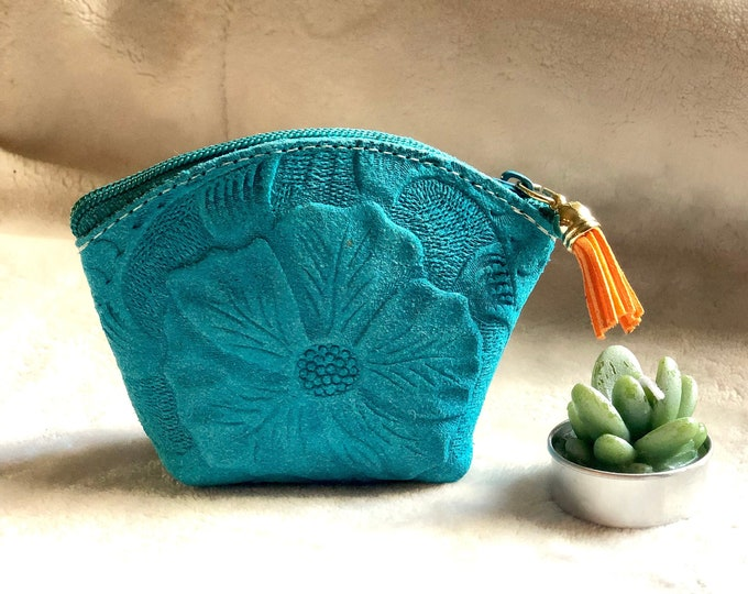 Carved leather Small Bag- Makeup pouch for purse- Small cosmetic bag- pouch for purse - Coin purse woman- Gift for her