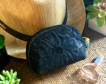 Small leather pouch - Small cosmetic bag- Handmade hibiscus pouch- Gift for her