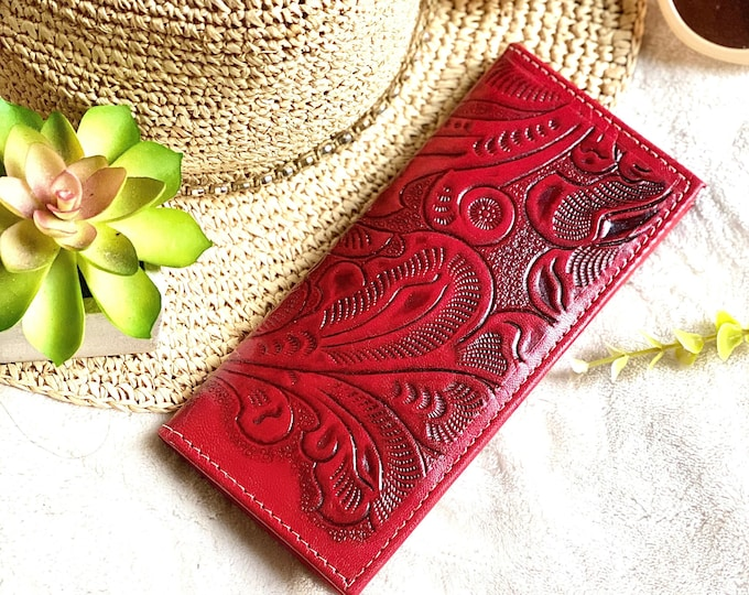 Tooled credit cards wallet- checkbook cover - gift for her - red checkbook cover - leather checkbook cover - woman wallet - woman wallet