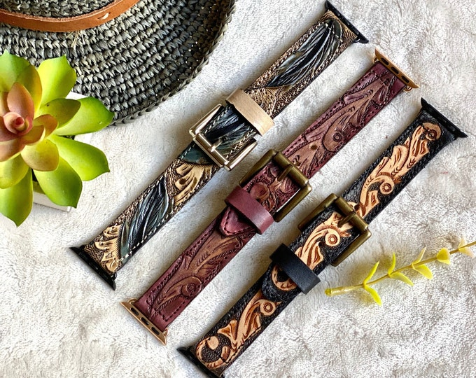 Handmade Tooled Apple Watch Band  /  Leather watch band. / Apple Watch 38 mm / western leather watch band/ lather gift