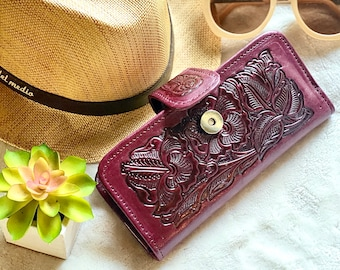 Handmade women's wallet leather - Western wallet - Bohemian wallet - long wallet - Gifts for her - leather wallet -wallets for women