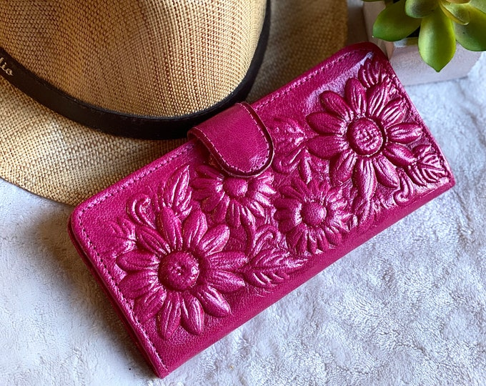 Leather Wallet Woman -  Gift for her- woman wallet leather - sunflowers gift- tooled leather purse - handmade wallet - bifold wallet
