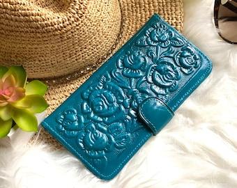 Handmade leather woman wallet - leather wallet - Gift for wife - Gift for her - Wallet woman leather - Floral - Wallets for women