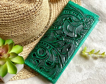 Handmade checkbook cover - gift for her - green checkbook cover - leather checkbook cover - woman wallet - woman wallet
