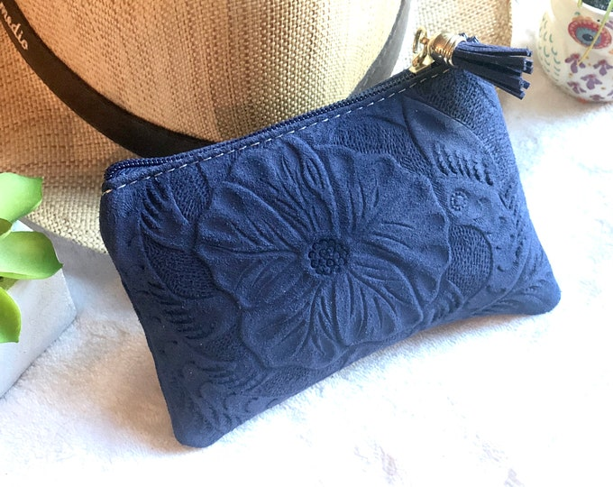 Small makeup bag for purse - Authentic leather pouch - leather small bag - gifts for her