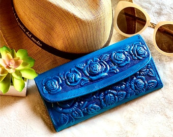 Wallets for Women- Girly wallet - blue leather wallet - gifts for her - roses wallet - wallet women leather- gifts for her