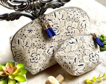 Leather Makeup bag  - Makeup pouch - Makeup bag leather - Cosmetic bag - Toiletry bag - Travel bag - gift for her - makeup bag combo