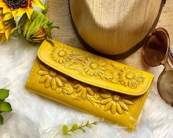Sunflower Leather wallets for women- Bohemian Wallet-  Wallet Women's leather -sunflower gift - leather wallet