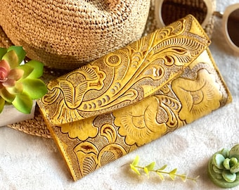 Leather wallets for women - yellow wallet - handmade wallet - woman wallet - handmade gifts - gifts for her