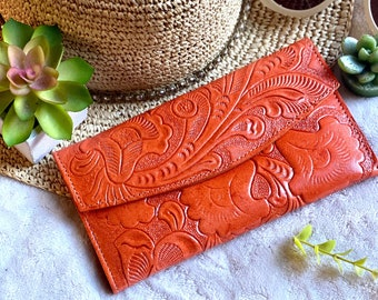 Leather Wallets for Women -gifts for her -floral wallets -carved leather wallet -handmade gifts -leather wallet - credit cards wallets