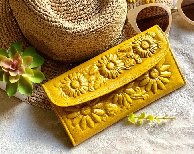 Handmade wallets for women- Sunflowers wallet - women's wallet - leather woman wallet purse - bicolor woman wallet - gifts for her