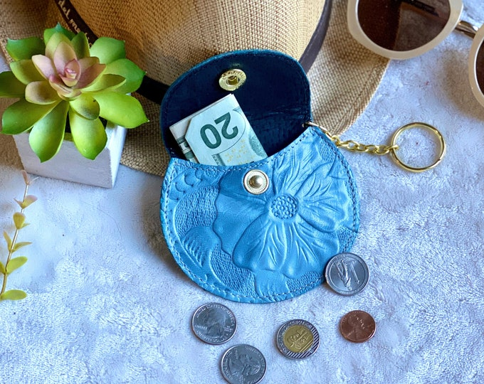 Handmade Embossed leather woman pouch - coin purse leather - earbuds case -change purse - Hibiscus pouch - blue pouch - bohemian pouch