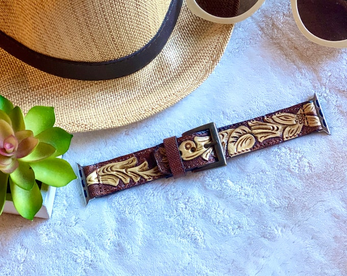 38 mm Tooled Apple Watch Band  /  Leather watch band. / Apple Watch 38 mm