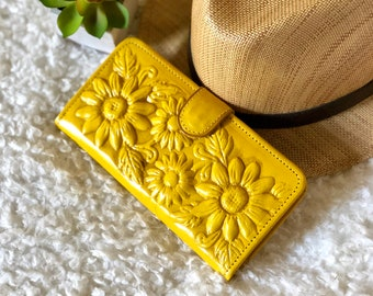 Sunflower purse - Leather Wallet Woman *  Gift for her