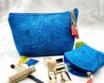 Makeup leather bag - Toiletry bag - cosmetic bag - gift for her - travel makeup bag