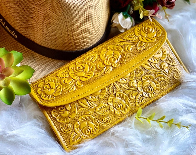 Yellow authentic leather embossed roses wallets for women -Leather woman wallet - wallet women - gift for her -woman purse