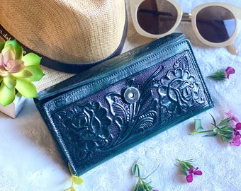 Tooled Roses wallet for woman - woman wallet leather - Handmade woman wallet - leather purse woman - gift for her - roses wallet