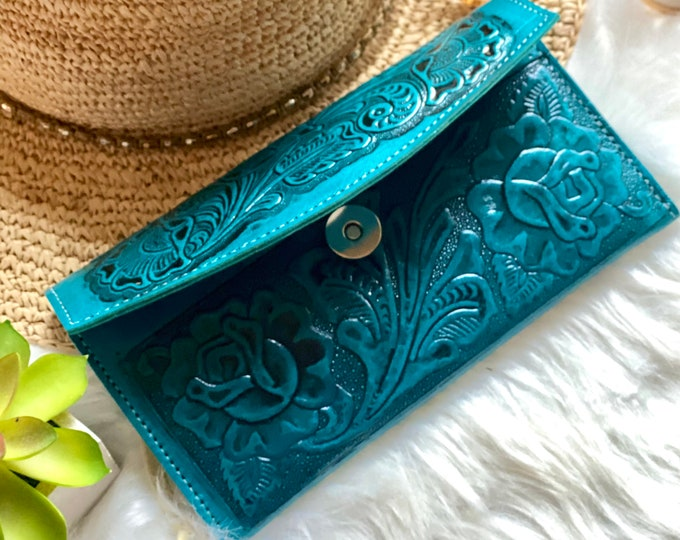 Authentic leather wallets for women-women's wallets -gifts for her -roses leather wallet - wallet for her - long wallet -leather purse