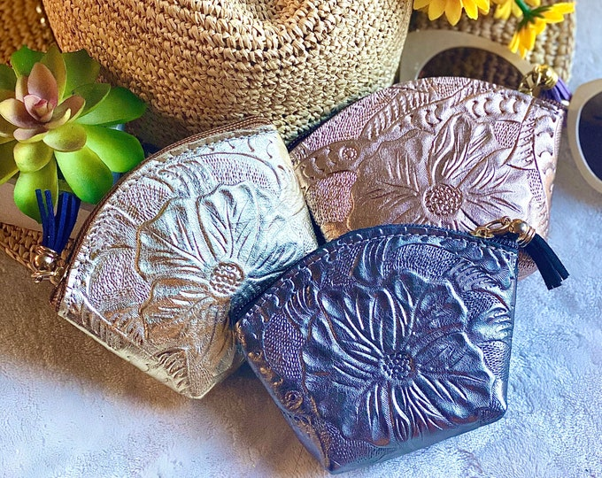 Handmade Leather pouch - Zipper pouch - mask bag - face mask pouch - gifts for her - Mask case -