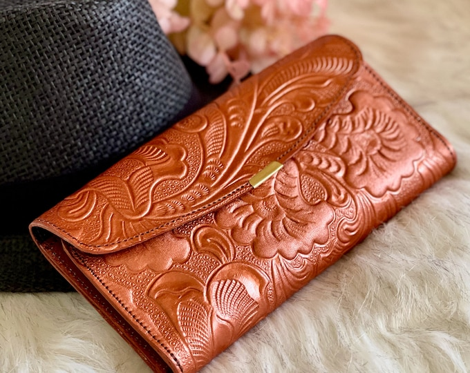 Embossed leather wallets for women • womens wallet • birthday gifts for her
